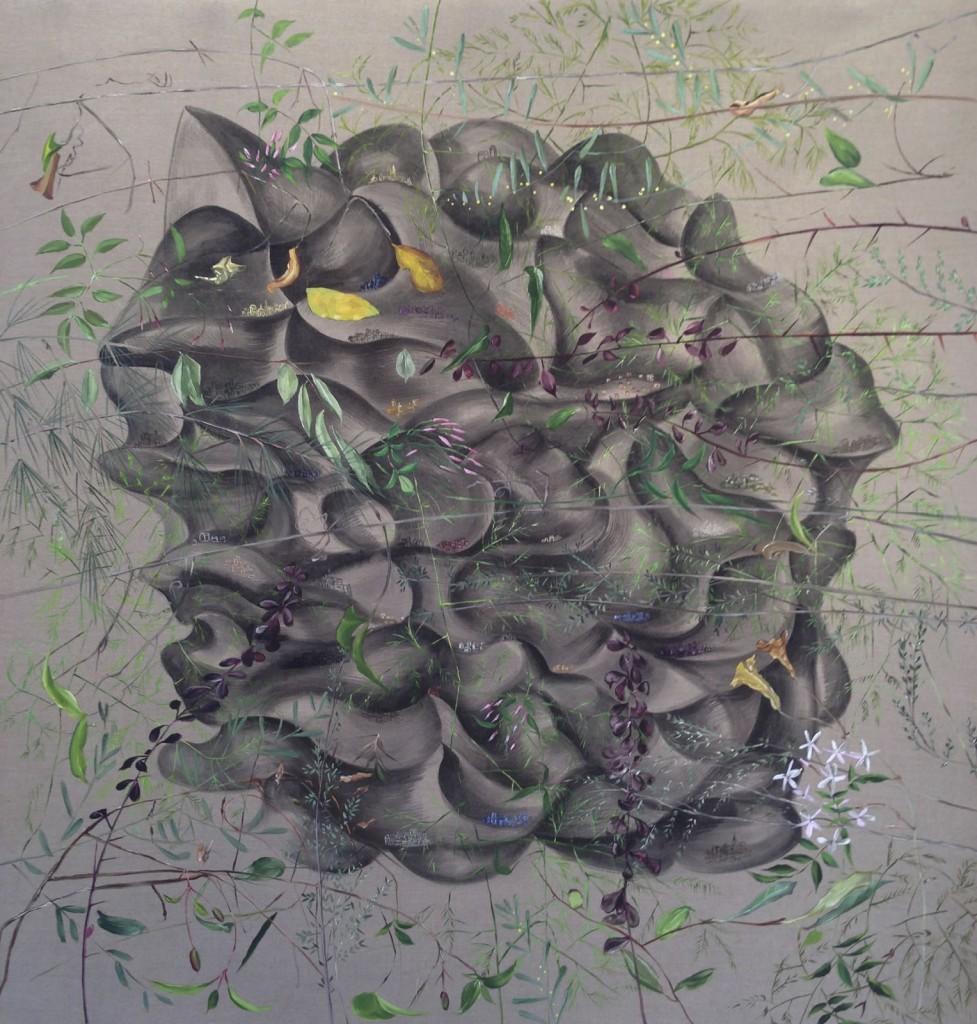 """Tumulus II, 2014, 48x48"""" oil and acrylic on linen"""