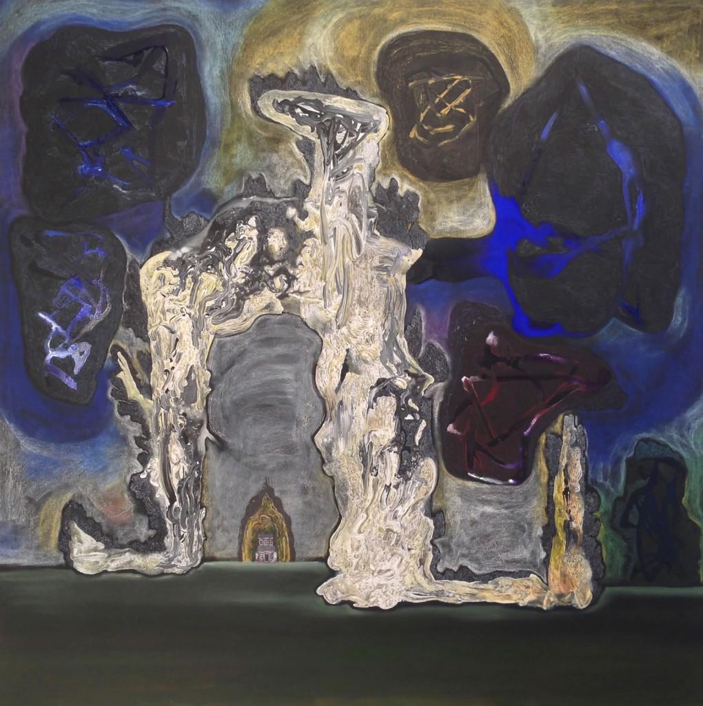 "Sky Over K'k,  2013, 64x64"", gesso, ink, pastel, oil on canvas"