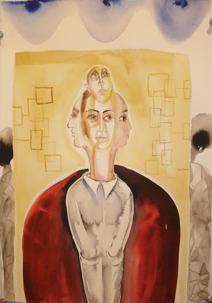 "1973, 11""x15"", watercolor on paper"