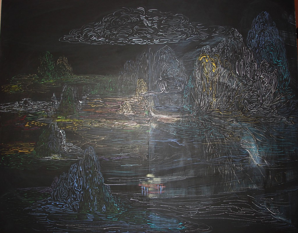 """Twenty Twelve, 2012, 22x28"""", oil, ink, gesso on panel"""