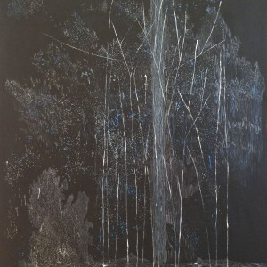 "Rain Tree, 2013, 68x48"", oil, ink, gesso on linen"