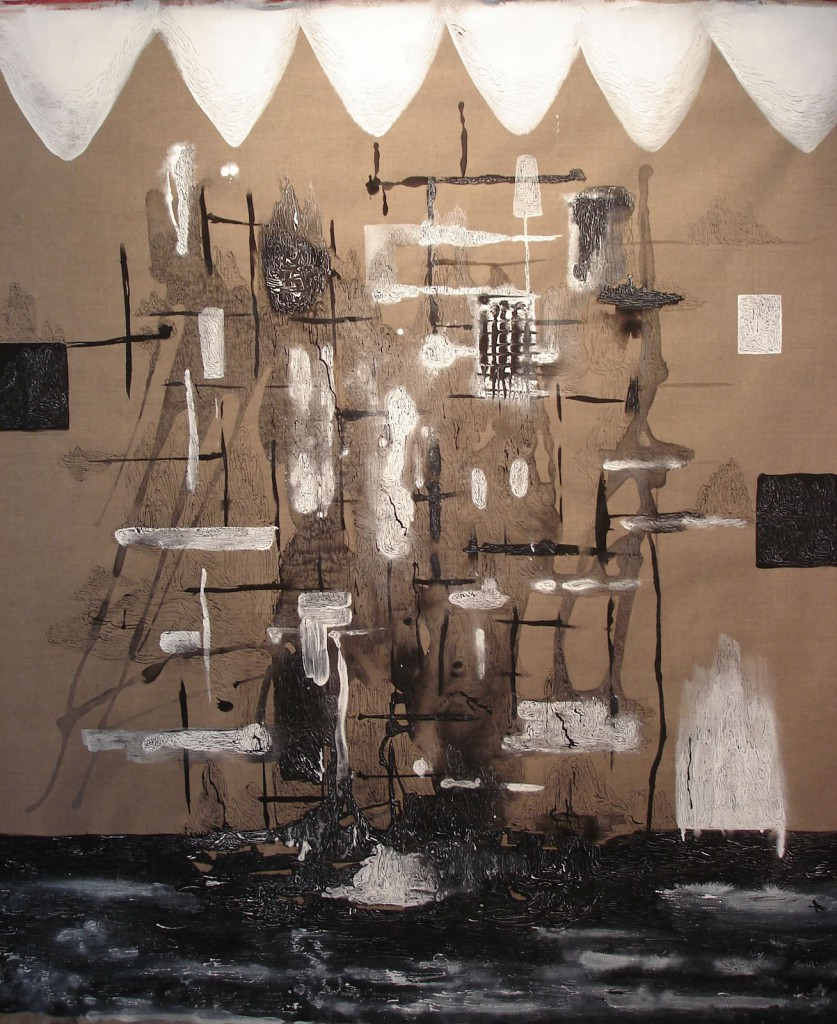 "Ship, 2012, 66x48"", ink, gesso and acrylic on linen"