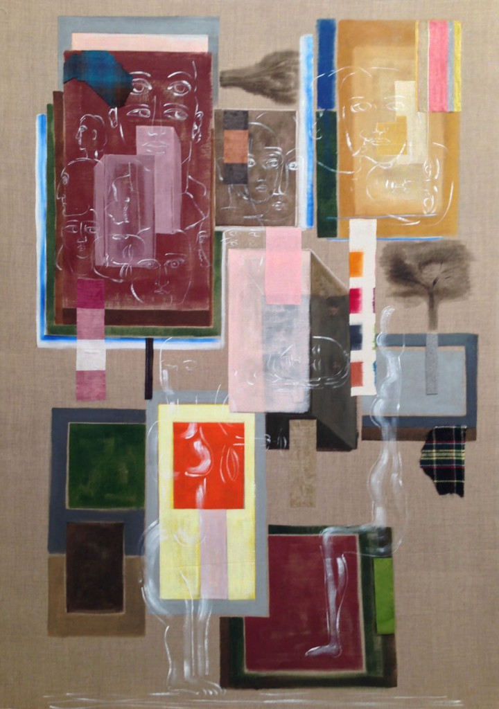 "Domestic Spaces, 2014, 68x48"", oil, acrylic, cloth on linen"