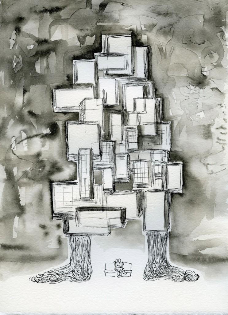 """Domicile, 11""""x9"""" ink, paper"""