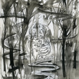 """Drunk in Jungle, 11""""x9"""" ink, paper"""