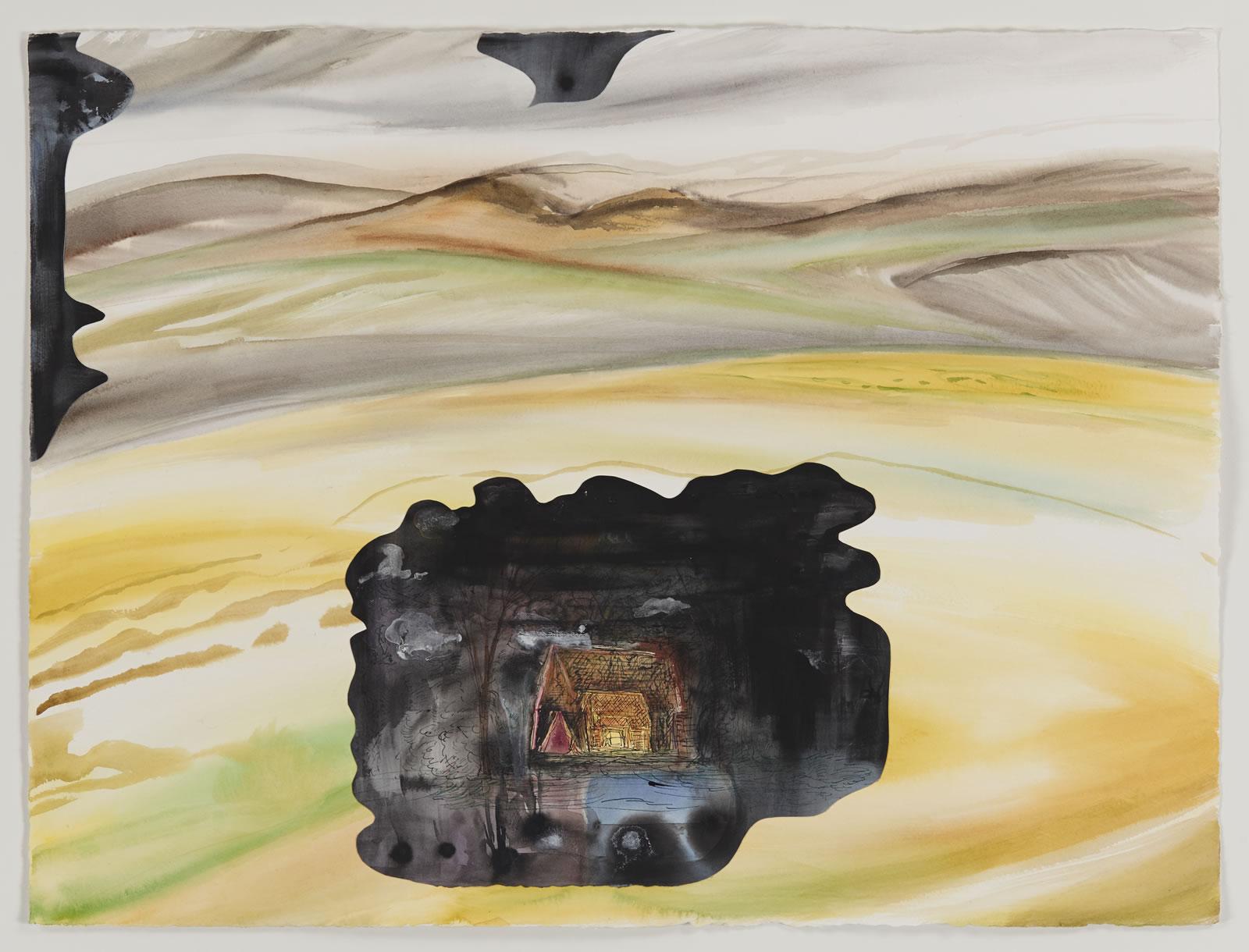 Cabin, watercolor, 2016
